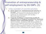 promotion of entrepreneurship self employment by dg empl 3