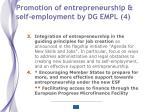 promotion of entrepreneurship self employment by dg empl 4