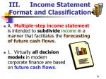 iii income statement format and classification