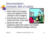 documentation domestic bills of lading