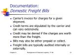 documentation domestic freight bills