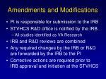 amendments and modifications
