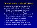 amendments modifications