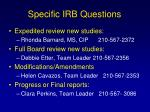 specific irb questions