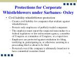 protections for corporate whistleblowers under sarbanes oxley