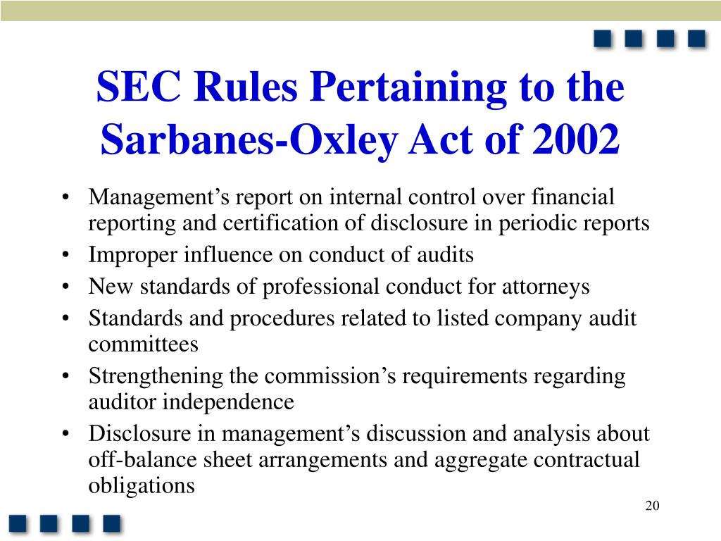 xacc 291 week 9 sarbanes oxley Below is an essay on financial reporting problem, part 2 from anti essays financial reporting problem, part 1 sarbanes oxley act of 2002.
