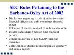 sec rules pertaining to the sarbanes oxley act of 200221