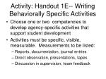 activity handout 1e writing behaviorally specific activities