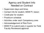 agency and student info needed on contract