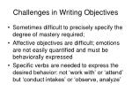 challenges in writing objectives
