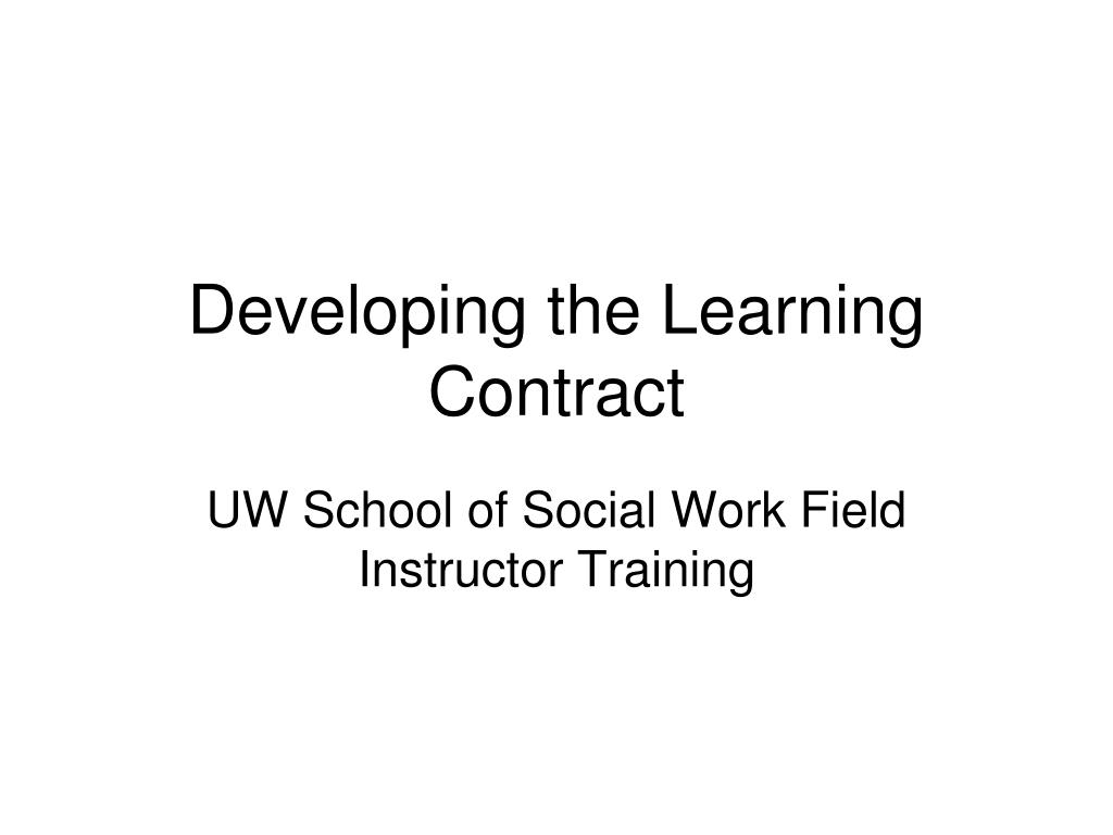 developing the learning contract l.