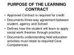 purpose of the learning contract