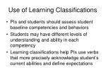 use of learning classifications