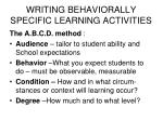 writing behaviorally specific learning activities