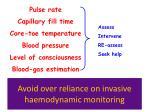avoid over reliance on invasive haemodynamic monitoring