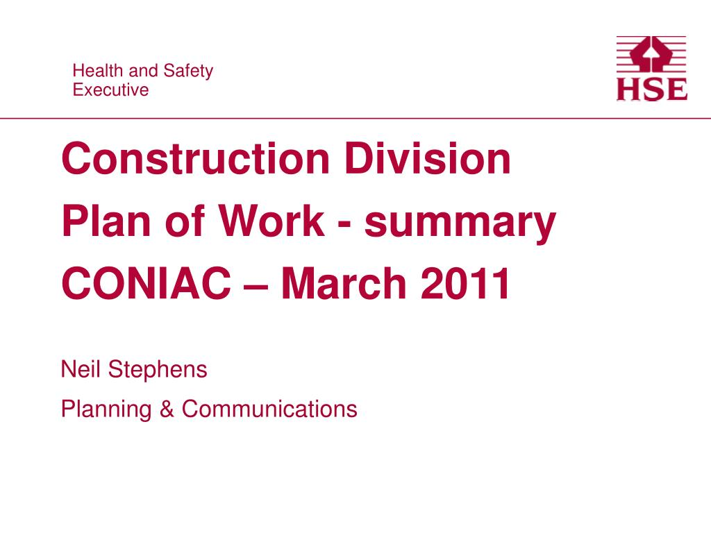 construction division plan of work summary coniac march 2011 l.