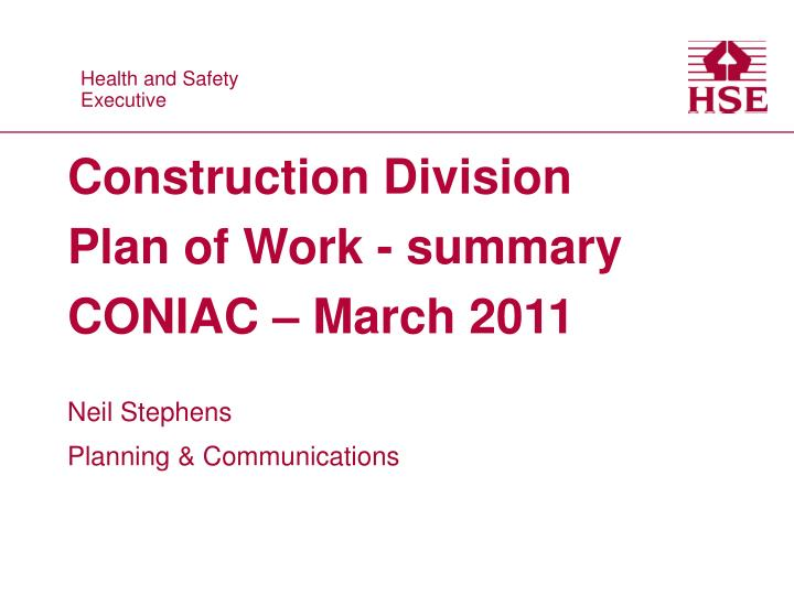 construction division plan of work summary coniac march 2011 n.