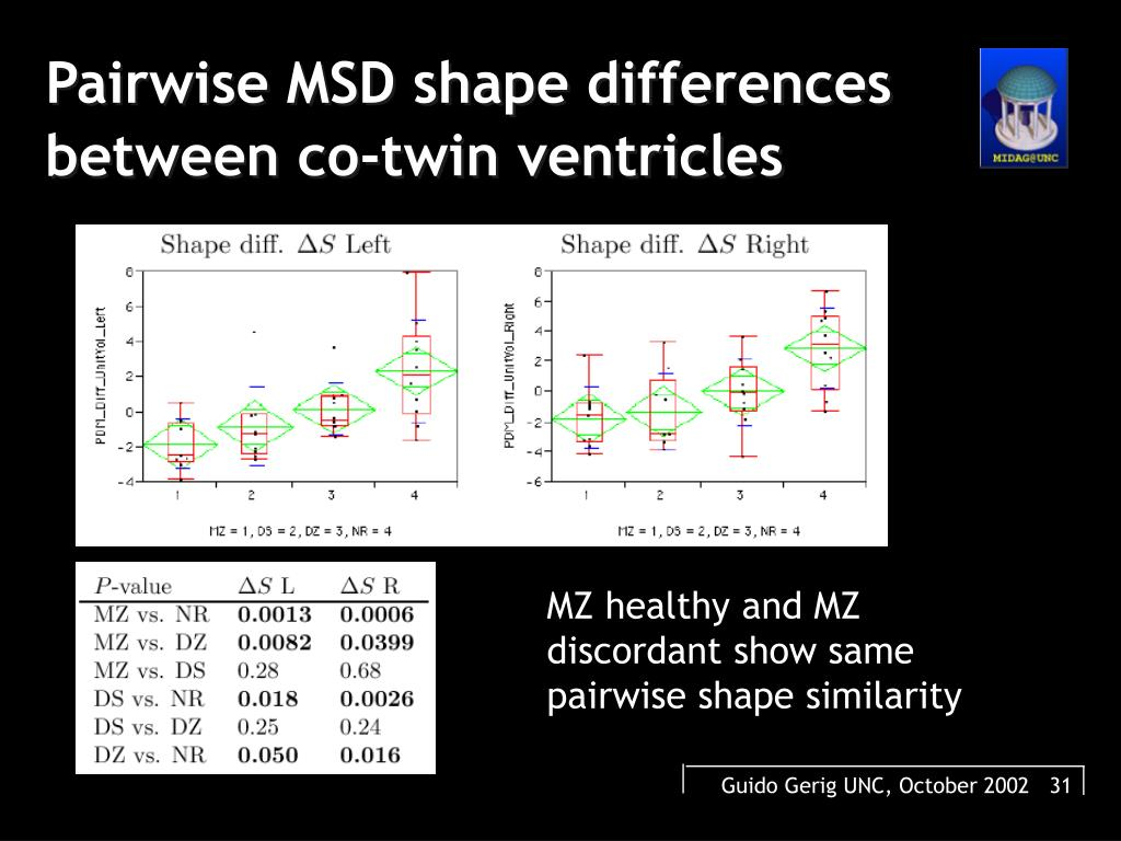 Pairwise MSD shape differences between co-twin ventricles