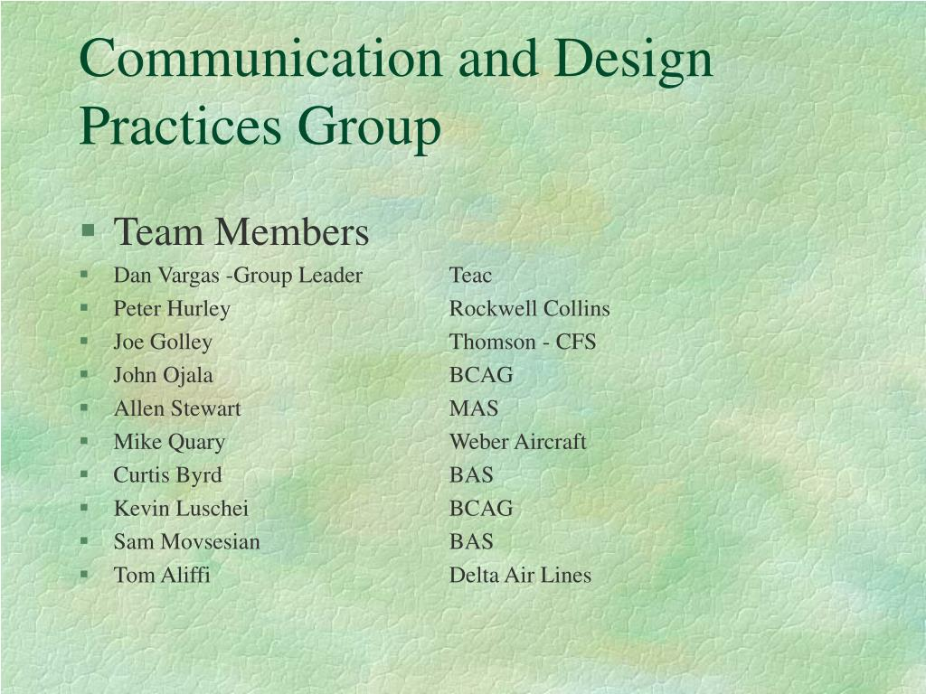 communication and design practices group l.