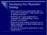 developing your reputation strategy