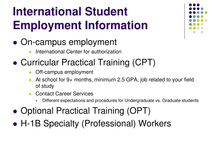 International student employment information