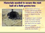materials needed to secure the root ball of a field grown tree