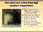 one sided root system from high container temperatures