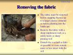 removing the fabric