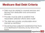 medicare bad debt criteria