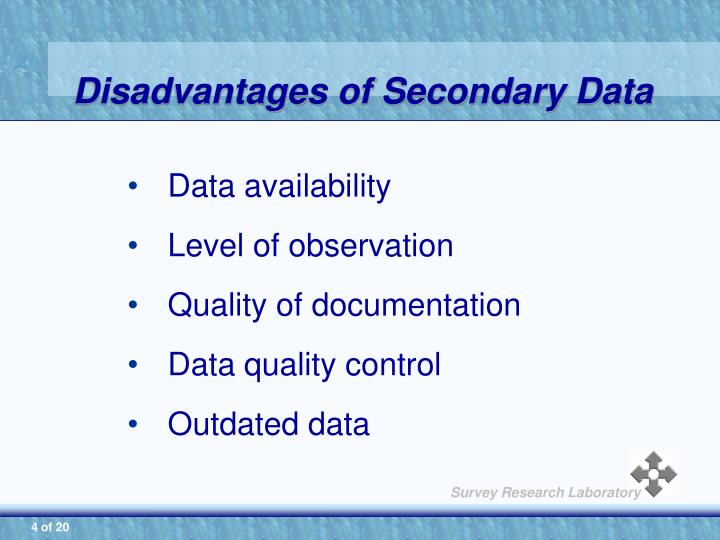 3 what problems of secondary data quality must researchers face how can they deal with them Secondary data sources secondary data sources july 29, 2013 secondary data sources whether the health care organization is a for-profit organization or a not-for-profit corporation, the governing body (gb) is a standard component of the health care system.