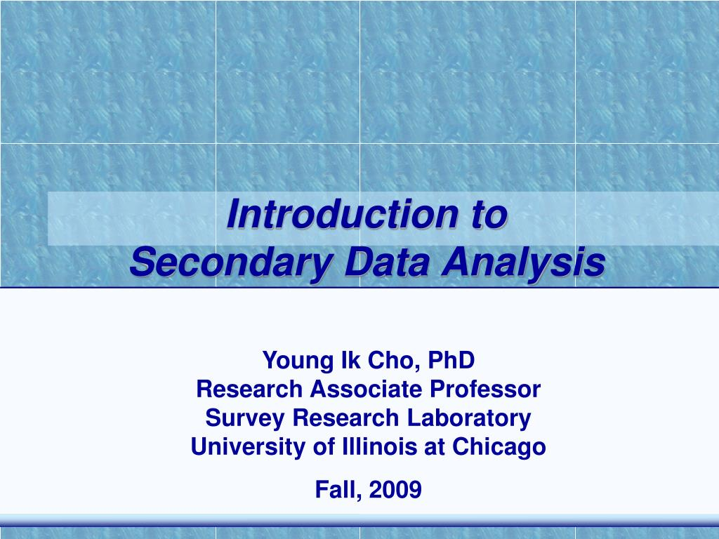 introduction to secondary data analysis l.