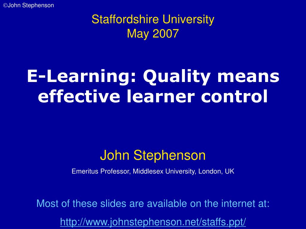 e learning quality means effective learner control l.