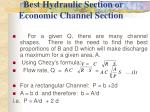 best hydraulic section or economic channel section