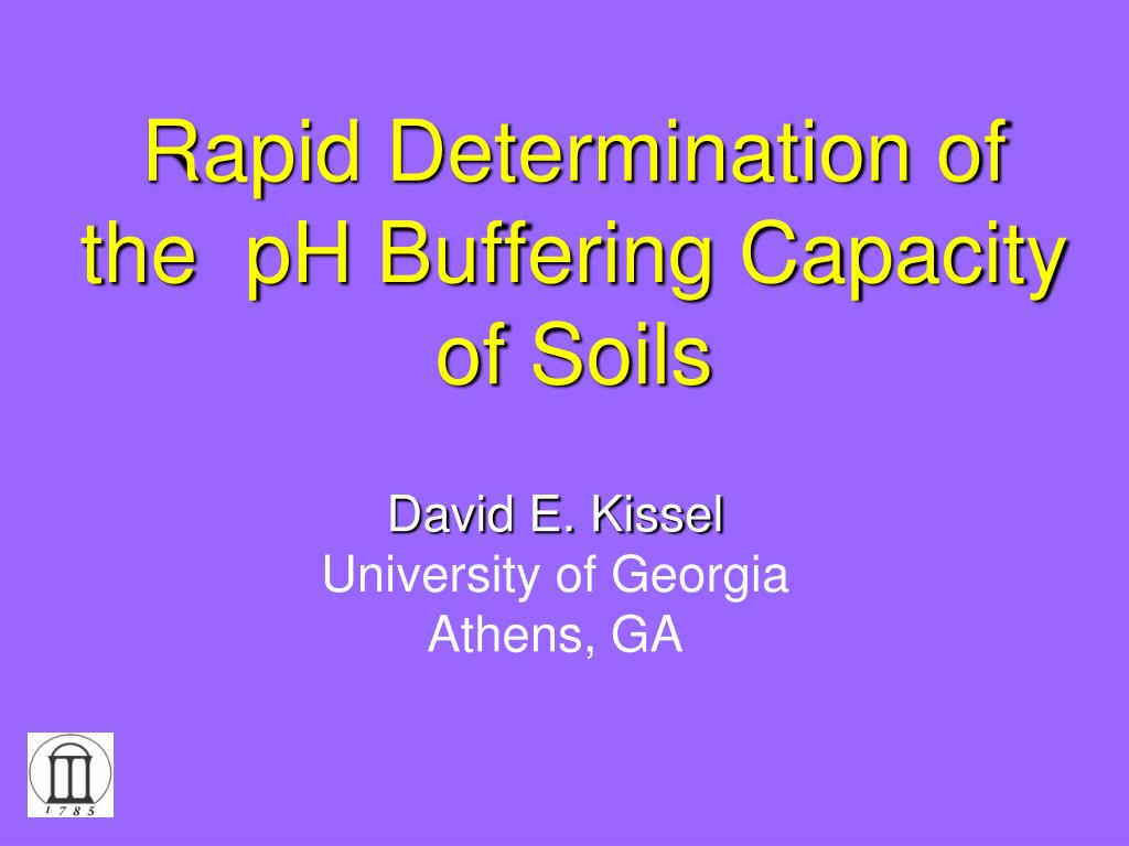 rapid determination of the ph buffering capacity of soils l.