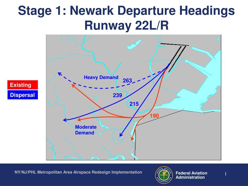 stage 1 newark departure headings runway 22l r l.