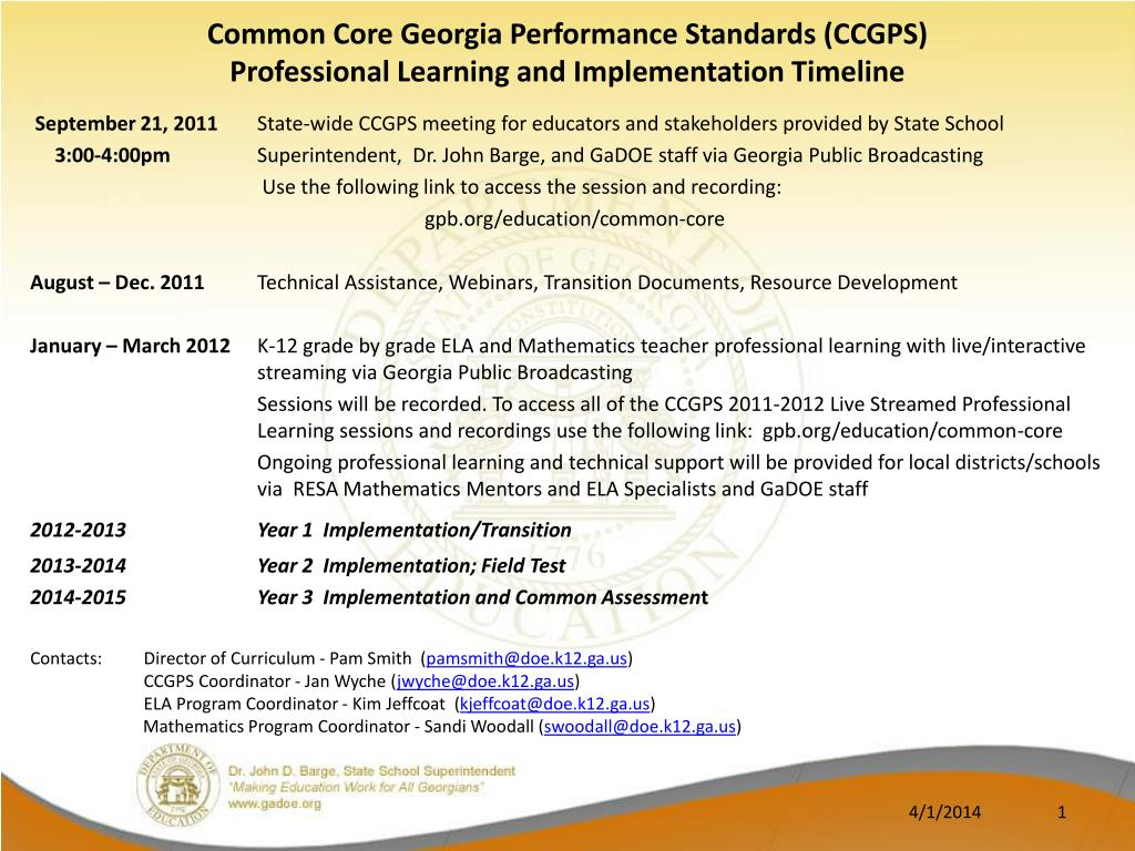 common core georgia performance standards ccgps professional learning and implementation timeline l.