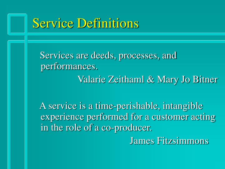 Service definitions