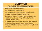 behavior the lens of interpretation