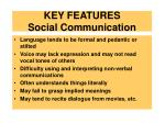 key features social communication