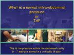 what is a normal intra abdominal pressure or iap