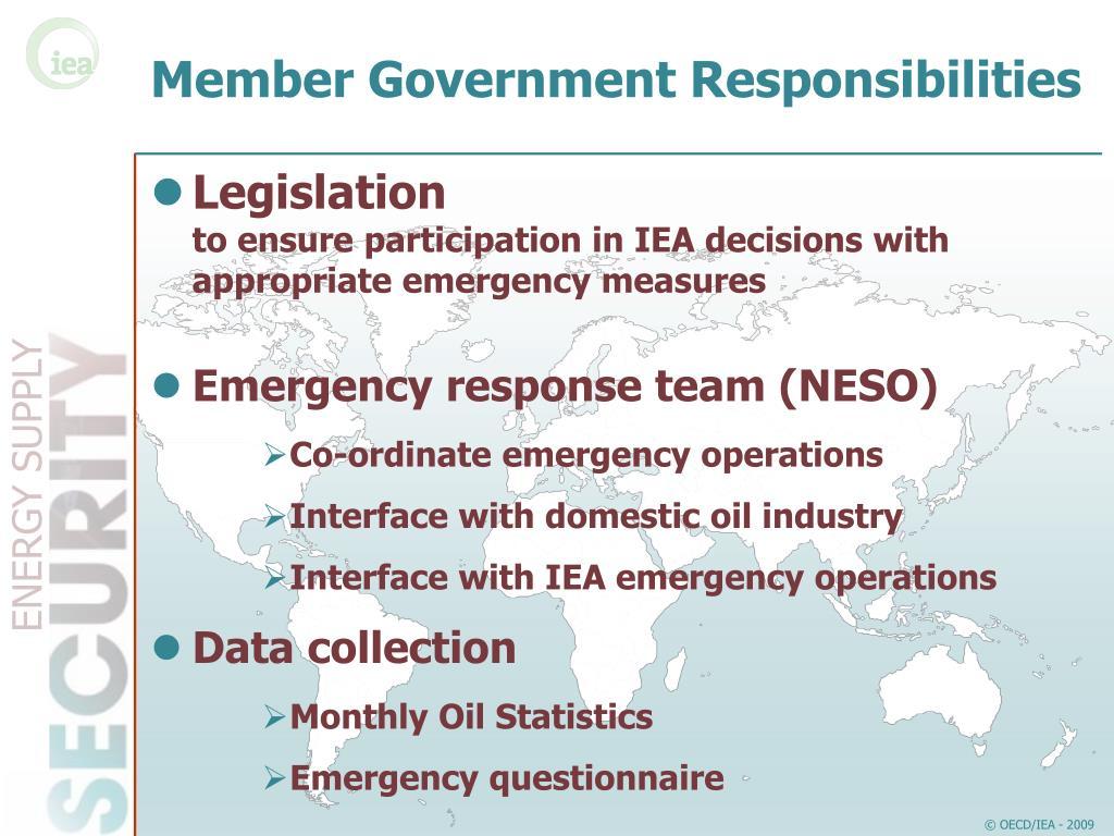 Member Government Responsibilities