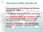 outreach to apec will take off