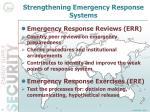 strengthening emergency response systems