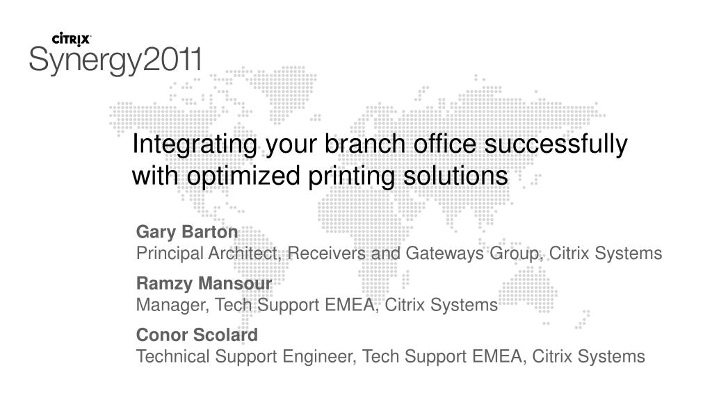 integrating your branch office successfully with optimized printing solutions l.