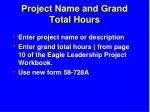 project name and grand total hours