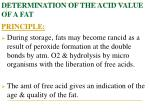 determination of the acid value of a fat