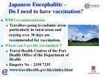 j apanese encephalitis do i need to have vaccination