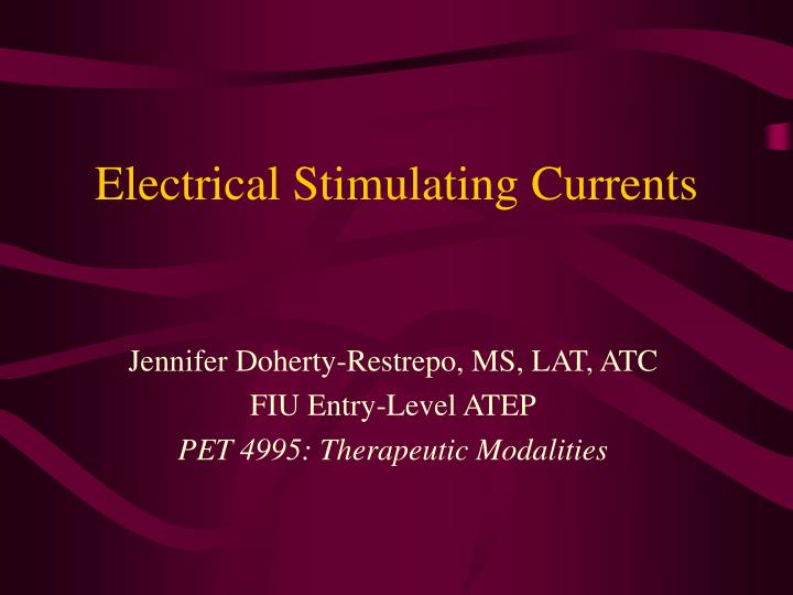 electrical stimulating currents n.
