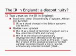 the ir in england a discontinuity