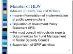 minister of hlw minister of health law and welfare